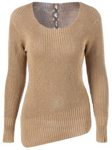 Outfit Back Lace-Up Asymmetrical Knitwear