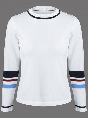 Latest Round Neck Colorful Striped Knitwear
