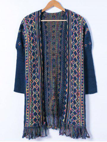 Affordable Colorful Geometrical Tassels Cardigan