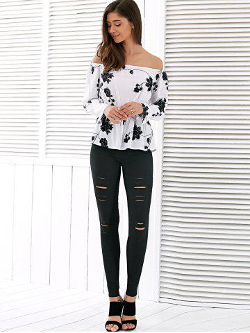 Store High Waisted Ripped Leggings - XL BLACK Mobile