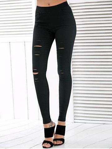 New High Waisted Ripped Leggings BLACK M