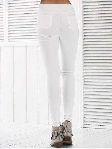 Outfits Button Deign High Waisted Leggings - XL WHITE Mobile