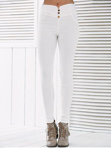 Latest Button Deign High Waisted Leggings - L WHITE Mobile