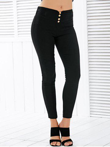 Discount Button Deign High Waisted Leggings - L BLACK Mobile