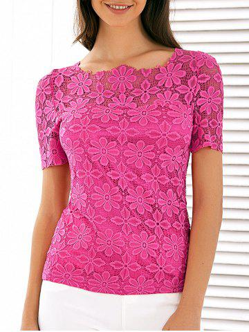 Fancy Scalloped Neck See Through Lace Blouse ROSE RED 4XL