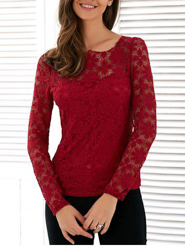Hot Long Sleeve See Through Lace Blouse