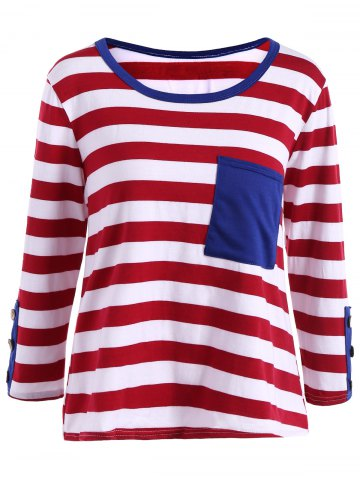Outfit Stripe Front Pocket Fitted Long Sleeve T-Shirt