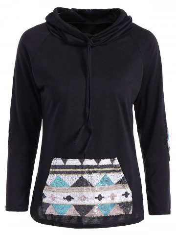 Fancy Patchy Sleeve Sequined Pocket Spliced Hoodie