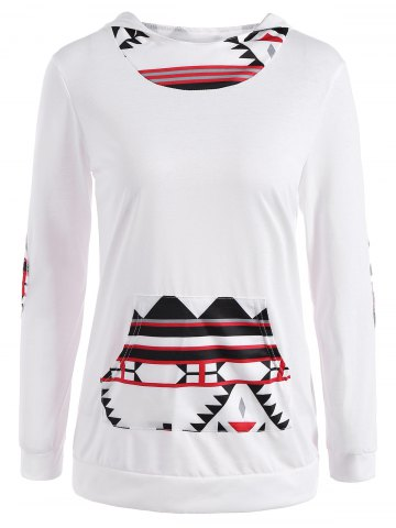 Shop Patchy Sleeve Front Pocket Geometric Hoodie
