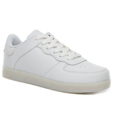 Buy PU Leather Lights Up Led Luminous Casual Shoes - 42 WHITE Mobile