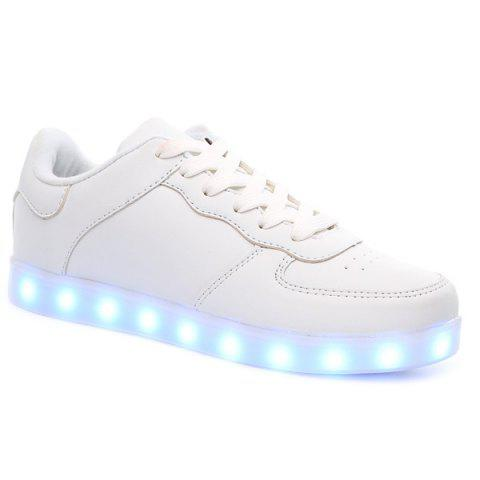Online PU Leather Lights Up Led Luminous Casual Shoes - 42 WHITE Mobile