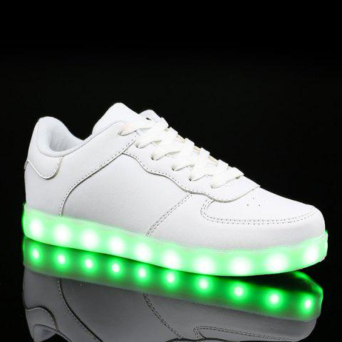Sale PU Leather Lights Up Led Luminous Casual Shoes - 42 WHITE Mobile