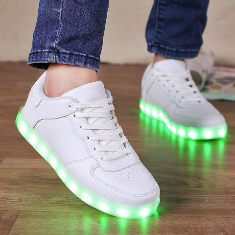 Cheap PU Leather Lights Up Led Luminous Casual Shoes - 42 WHITE Mobile