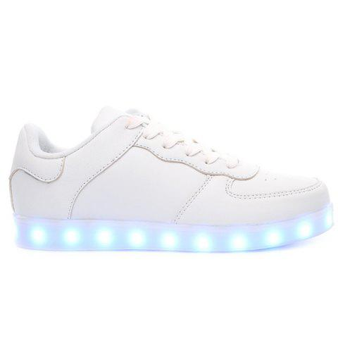 Latest PU Leather Lights Up Led Luminous Casual Shoes - 42 WHITE Mobile