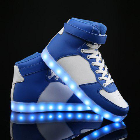 Sale Colour Block Lights Up Led Luminous Casual Shoes BLUE AND WHITE 43