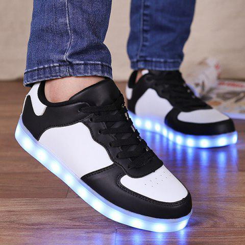 Fashion Led Luminous Lights Up Colour Splicing Casual Shoes WHITE AND BLACK 43