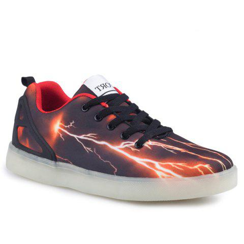 Fancy Led Luminous Lightning Pattern Lights Up Casual Shoes - 42 DEEP BROWN Mobile