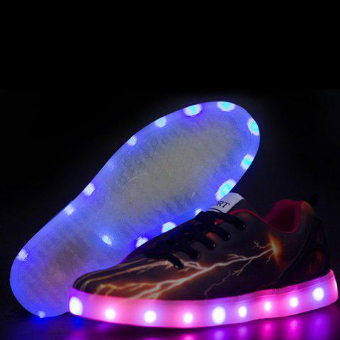 Outfits Led Luminous Lightning Pattern Lights Up Casual Shoes - 42 DEEP BROWN Mobile