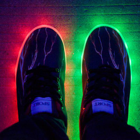 Hot Led Luminous Lightning Pattern Lights Up Casual Shoes - 42 DEEP BROWN Mobile