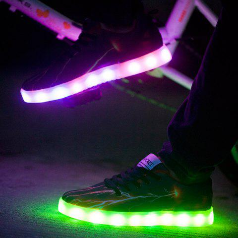 New Led Luminous Lightning Pattern Lights Up Casual Shoes - 42 DEEP BROWN Mobile