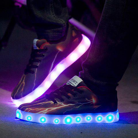 Buy Led Luminous Lightning Pattern Lights Up Casual Shoes - 42 DEEP BROWN Mobile