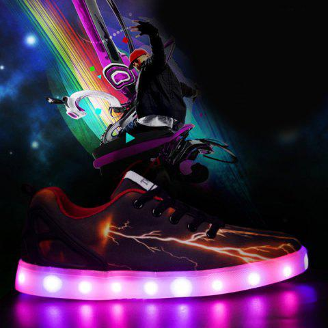 Cheap Led Luminous Lightning Pattern Lights Up Casual Shoes - 42 DEEP BROWN Mobile
