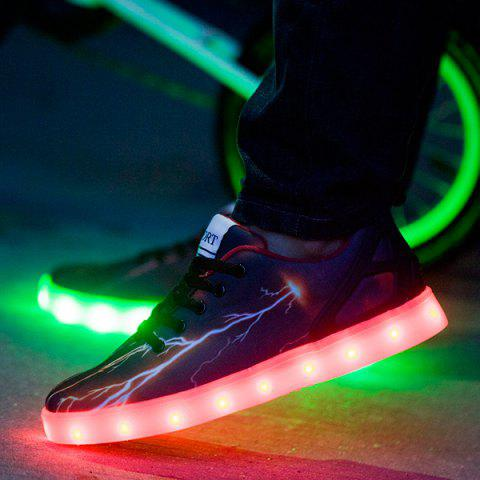 Affordable Led Luminous Lightning Pattern Lights Up Casual Shoes - 42 DEEP BROWN Mobile