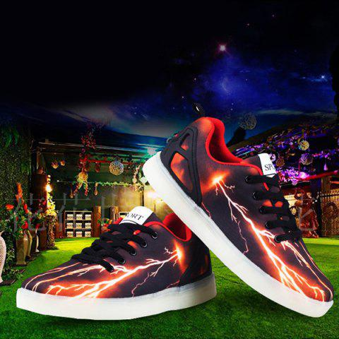 Best Led Luminous Lightning Pattern Lights Up Casual Shoes - 42 DEEP BROWN Mobile