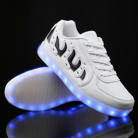 New Lights Up Led Luminous Color Block Casual Shoes WHITE 43