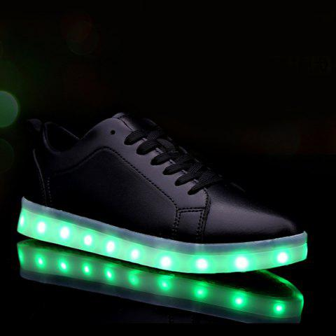 Latest Led Luminous Faux Leather Casual Shoes - 44 BLACK Mobile
