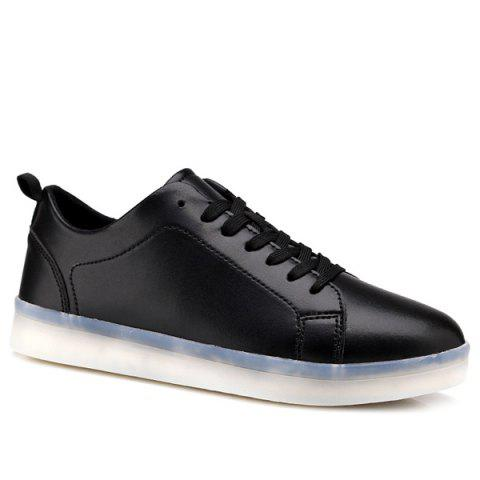 Online Led Luminous Faux Leather Casual Shoes - 44 BLACK Mobile