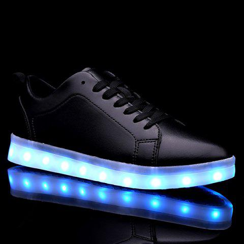 Affordable Led Luminous Faux Leather Casual Shoes - 44 BLACK Mobile