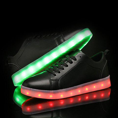Fancy Led Luminous Faux Leather Casual Shoes - 44 BLACK Mobile