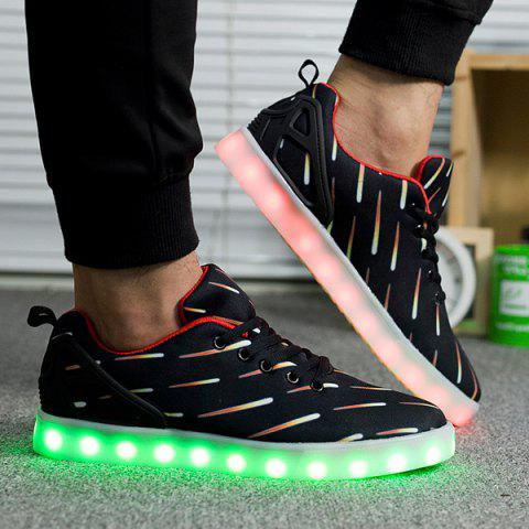 Led Luminous Meteor Pattern Lights Up Casual Shoes - Black - 40