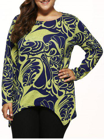 Unique Paisley Knitted Asymmetrical Pullover YELLOW ONE SIZE