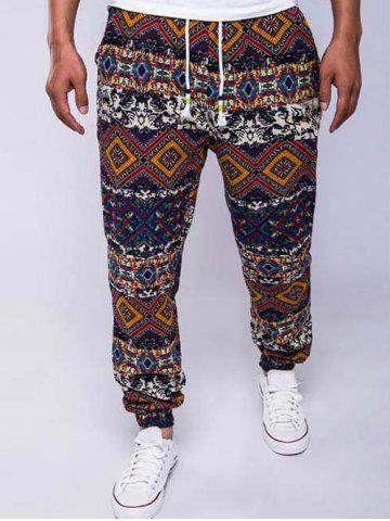 Sale Ethnic Style Geometric Print Linen Drawstring Jogger Pants RED 2XL