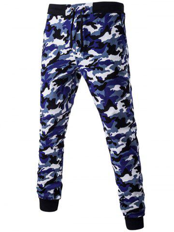Shops Camoflage Pattern Drawstring Beam Feet Jogger Pants NAVY BLUE 2XL