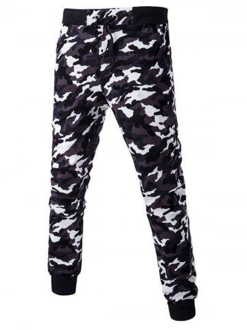 Camoflage Pattern Drawstring Beam Feet Jogger Pants - Deep Gray - L