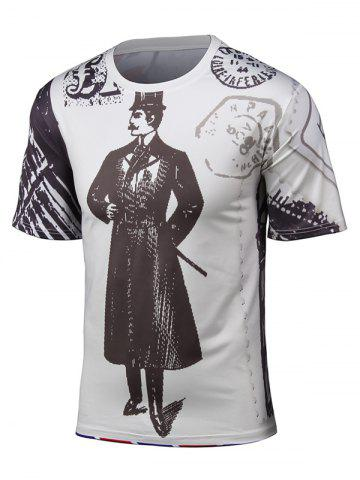 Hot Round Neck 3D Cartoon Chaplin and Union Jack Print Short Sleeve T-Shirt