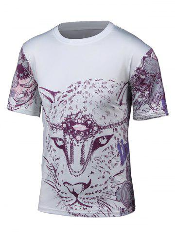 Buy Round Neck 3D Leopard and Floral Print Short Sleeve T-Shirt WHITE 4XL