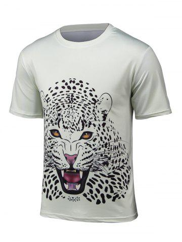Trendy Round Neck 3D Leopard Print Short Sleeve T-Shirt OFF WHITE 4XL