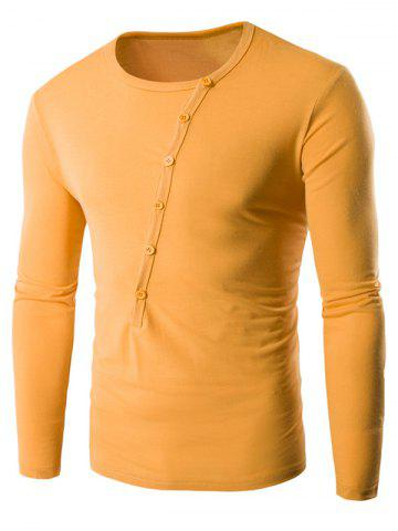 New Buttons Embellished Round Neck Long Sleeve T-Shirt