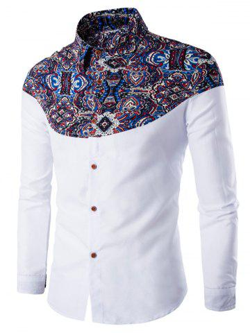 Affordable Ethnic Style Pattern Spliced Turn-Down Collar Long Sleeve Shirt