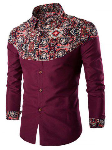 Fancy Ethnic Style Pattern Spliced Turn-Down Collar Long Sleeve Shirt