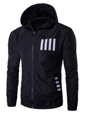 Trendy Hooded Number and Stripe Print Zip-Up Polyester Jacket BLACK 2XL