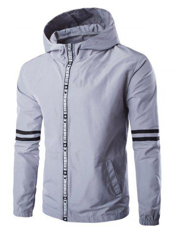 Hooded письмо Окантовка Zip-Up Varsity Jacket Stripe