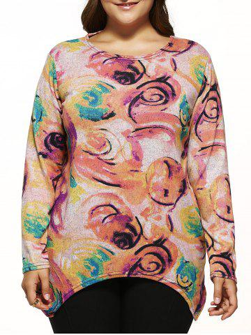Outfit Long Sleeves Floral Knitted Asymmetrical Pullover