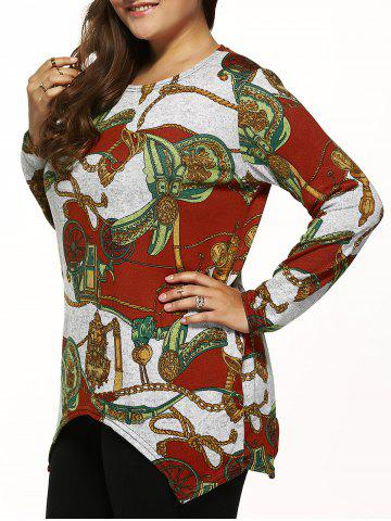 Online Long Sleeves Printed Knitted Asymmetrical Pullover GRAY ONE SIZE