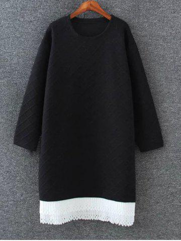Hot Drop Shoulder Shift Sweatshirt Dress BLACK 4XL