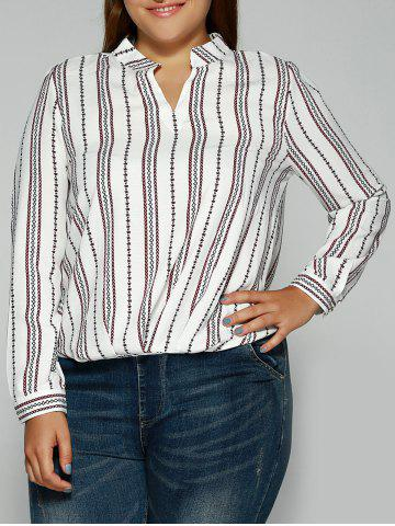 Latest Loose Striped Printed Blouse WHITE 5XL